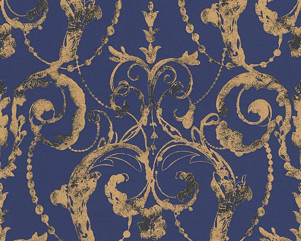 Vliestapete Barock Blau Gold Tapete Livingwalls Flock 4 956914 von Barock Tapete Blau Gold Bild