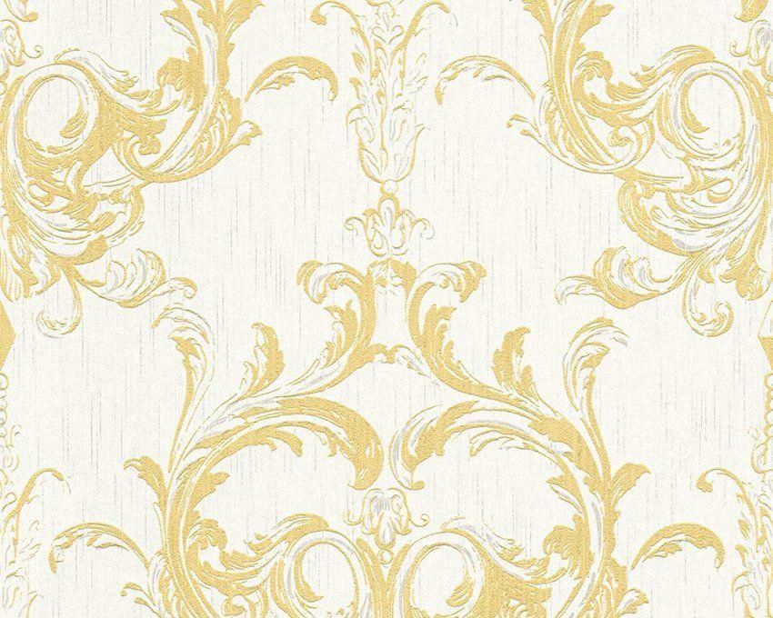 Vliestapete Gelb Weiß Barock Tessuto 961965 von Barock Tapete Weiß Gold Bild