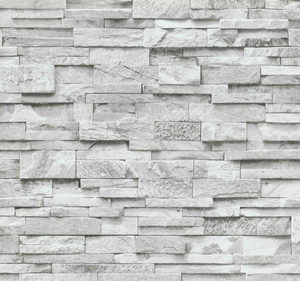 Vliestapete Stein 3D Optik Grau Weiß Mauer P+S 0236330 von Tapete Mauer Optik 3D Bild
