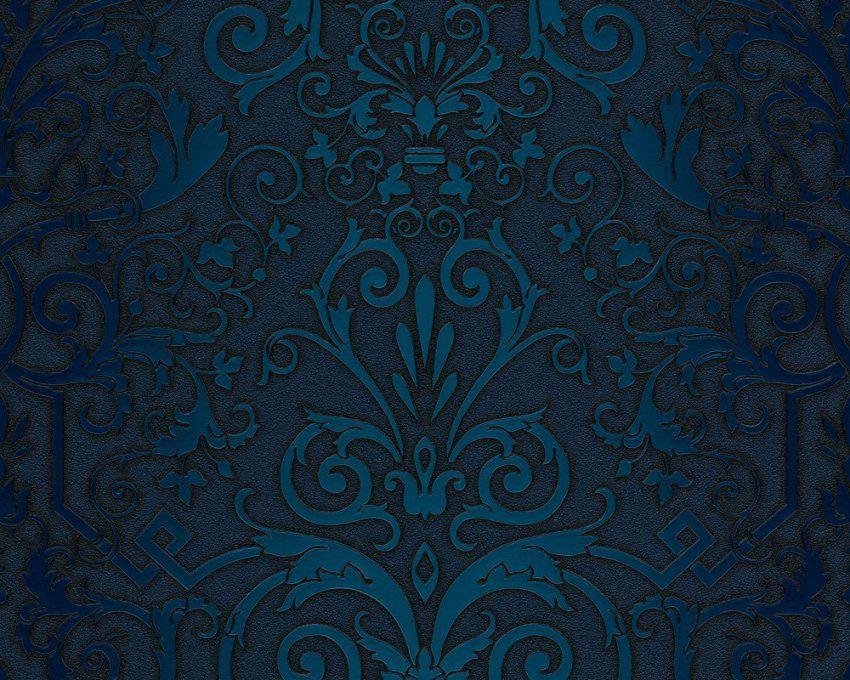 Vliestapete Versace Home Barock Blau Türkis 935454 von Barock Tapete Blau Gold Photo