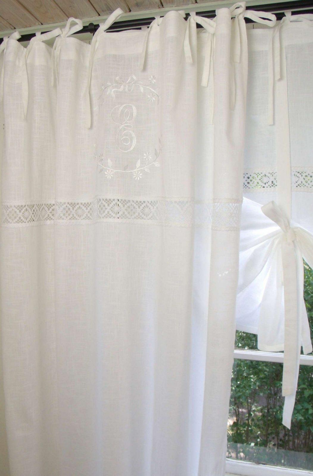Vorhang Emilia Weiß Gardine 1 X 140X300 Cm Einzelschal Shabby von Verdunkelungsvorhang 300 Cm Lang Bild