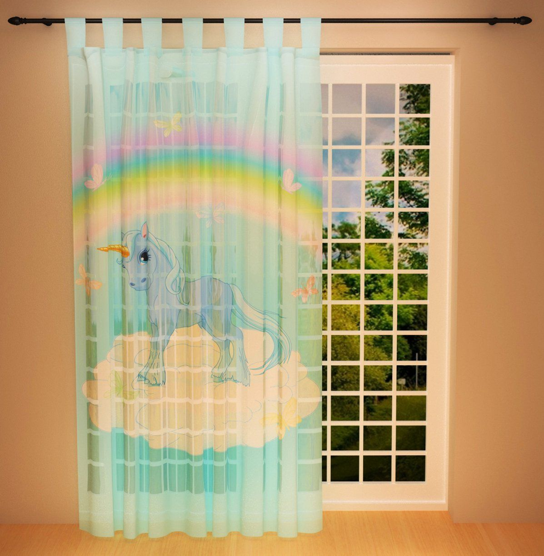 """Vorhang Gardine """"einhorn"""" 145 X 245 Cm  Transparent Kindervorhang von Gardinen 145 Cm Hoch Bild"""