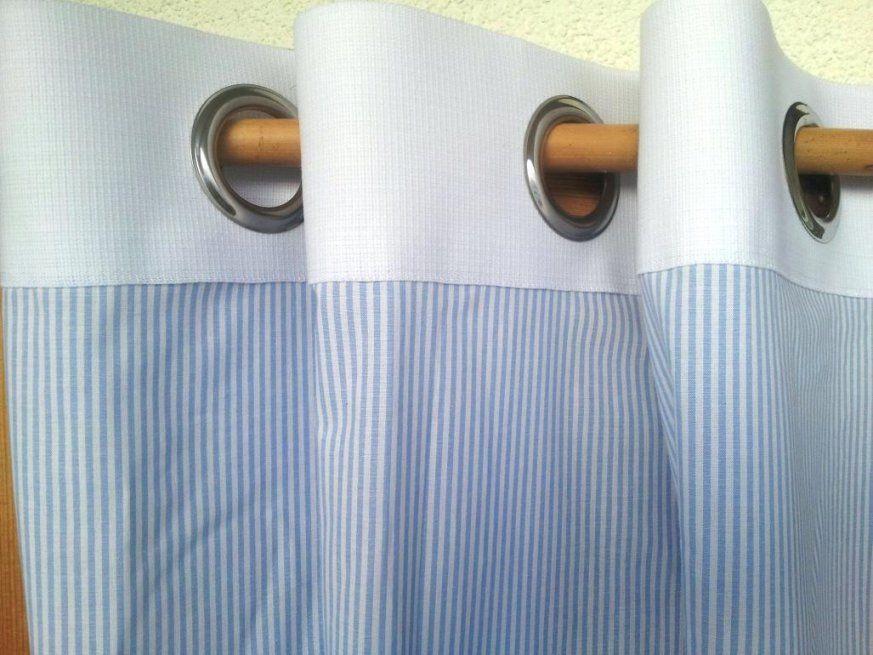 Vorhang maritim spannende blau weis gestreift husliche for Vorhange kinderzimmer blau