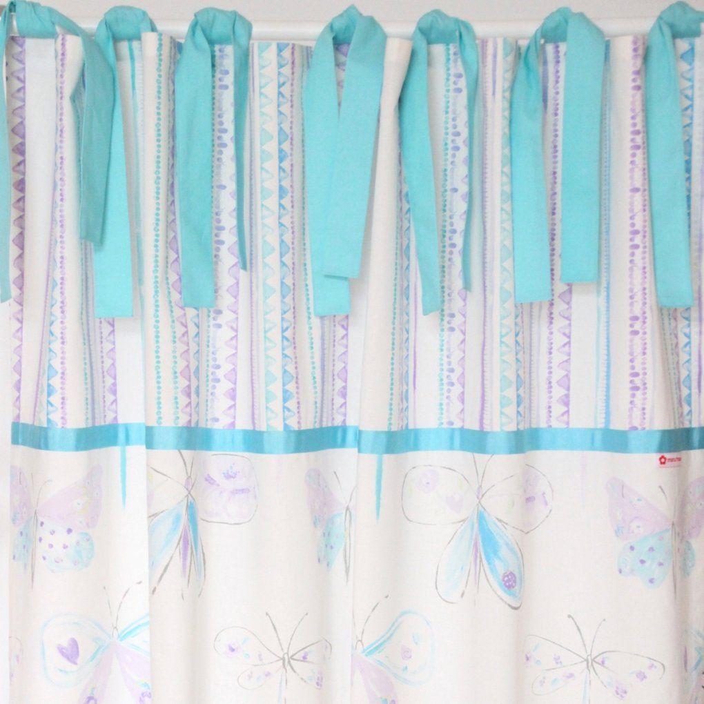 Vorhang Schmetterlinge Türkisflieder  Maru*maru von Vorhänge Mit Schlaufen Zum Binden Photo