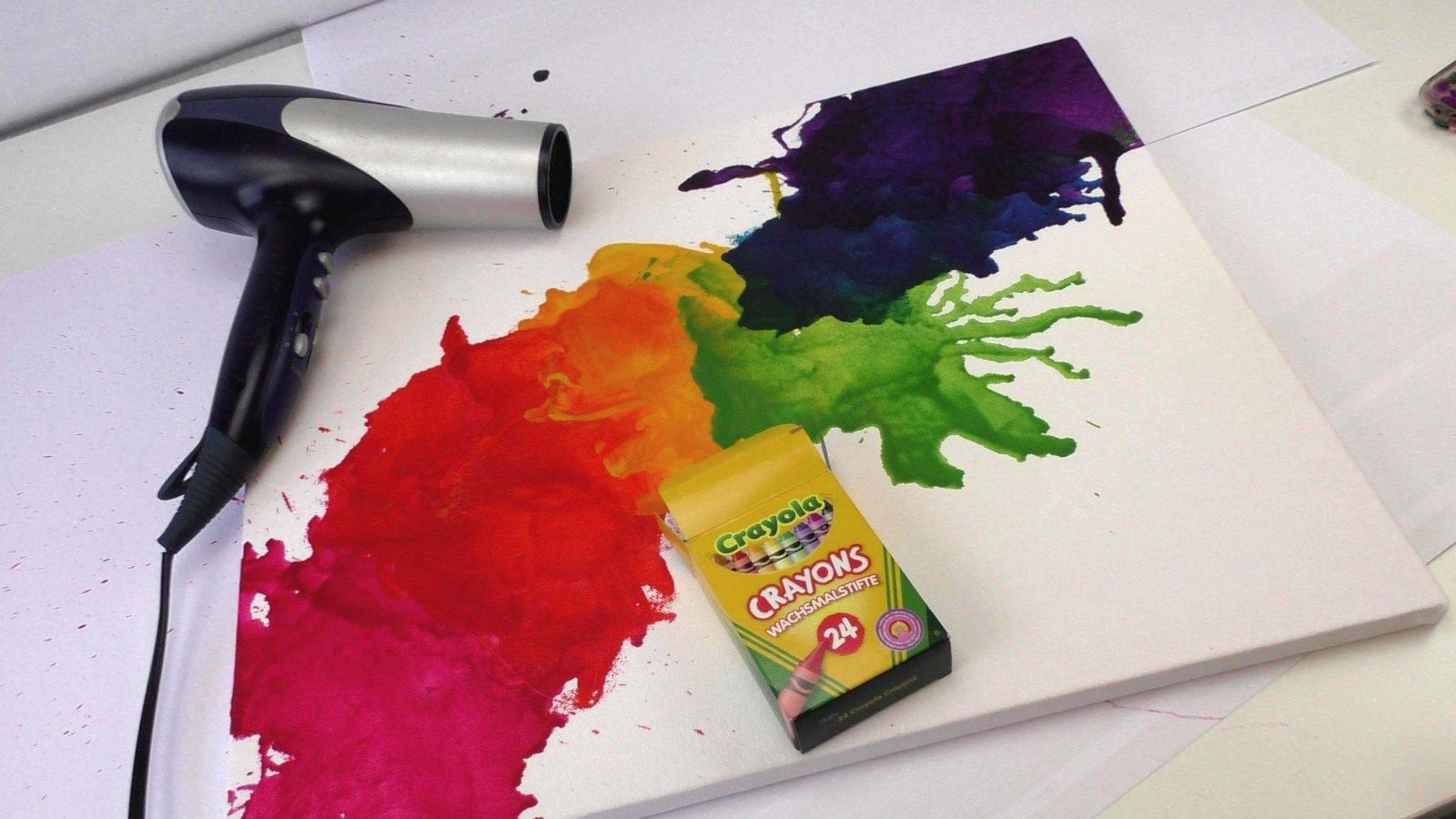 Wachsmalkreide Schmelzen  Crayon Melt  Bild Mit Fön Und von Keilrahmen Gestalten Vorlagen Ideen Photo