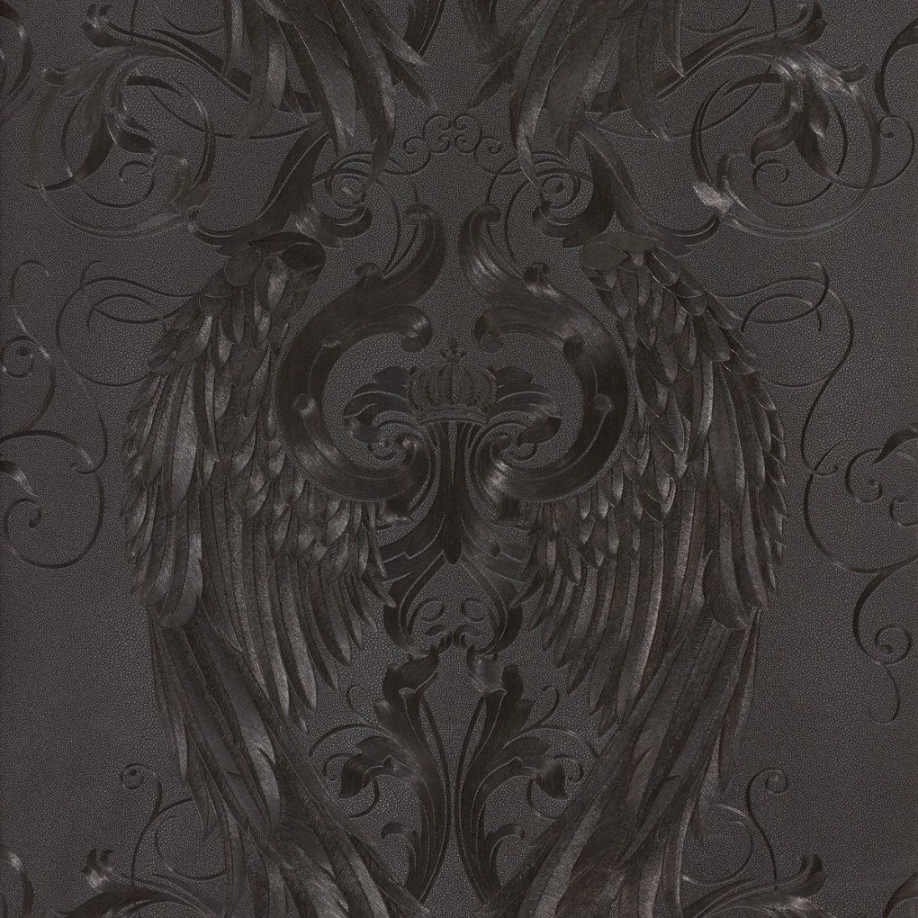 Wallpaper Glööckler Angel Wings Black Metallic 52578 von Harald Glööckler Tapete Schwarz Photo