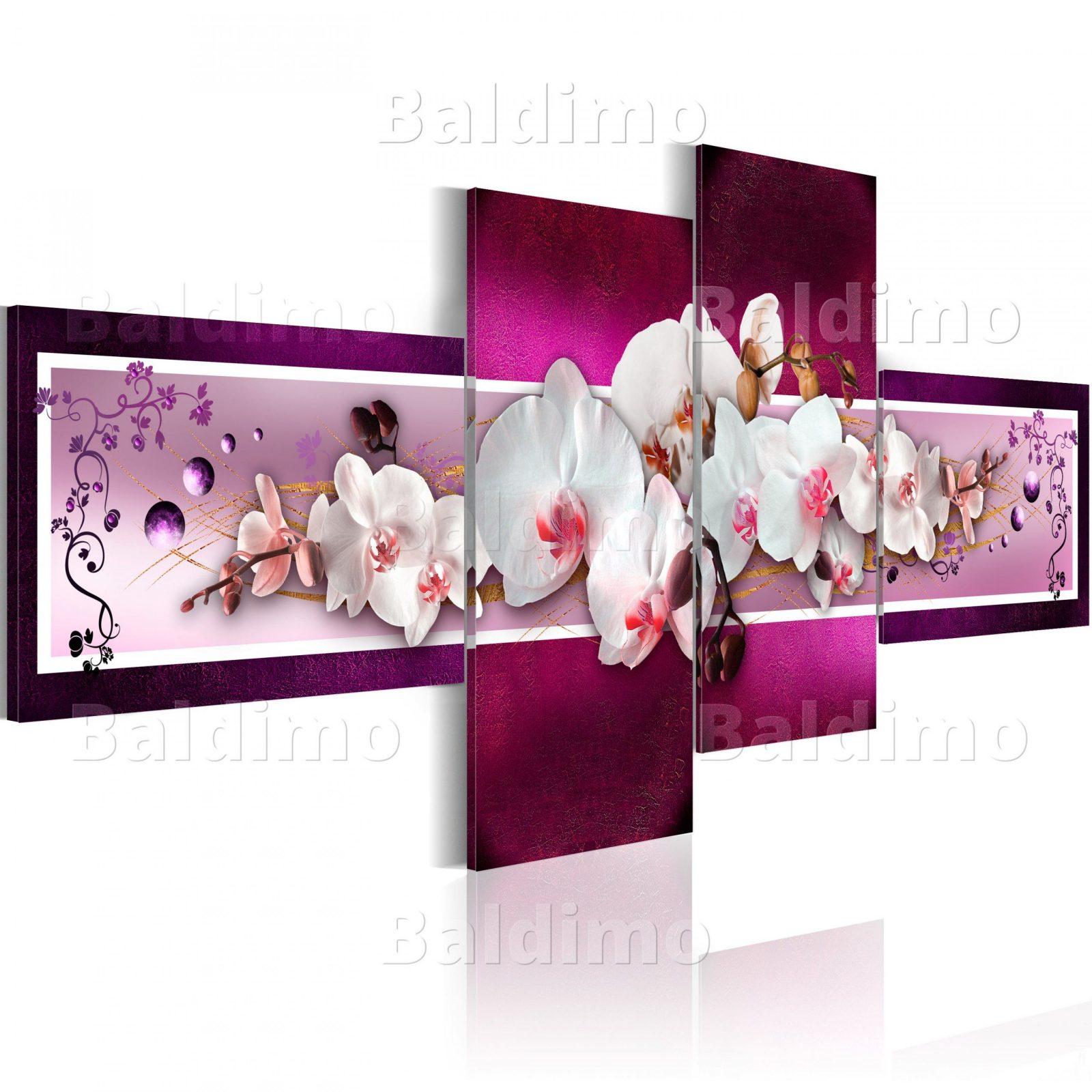 Wandbilder Xxl Blumen Orchidee Abstrakt Violett Leinwand Bilder 4 von Orchideen Bilder Auf Leinwand Photo