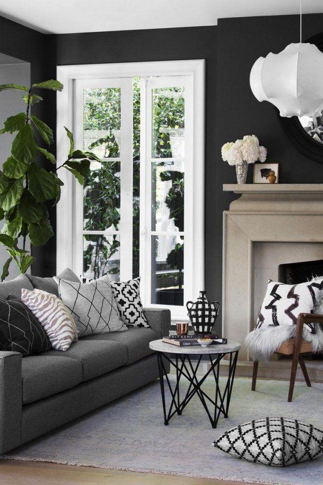 Wandfarbe Schwarz Anthrazit Graue Möbel Weiße Fensterrahmen von Graue Möbel Welche Wandfarbe Bild