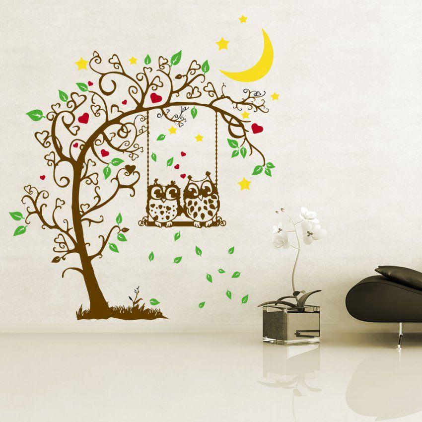 Wandtattoo Baum Eulen Auf Schaukel Mit Herzen Sternen Und Blättern von Wandtattoo Baum Mit Eulen Photo