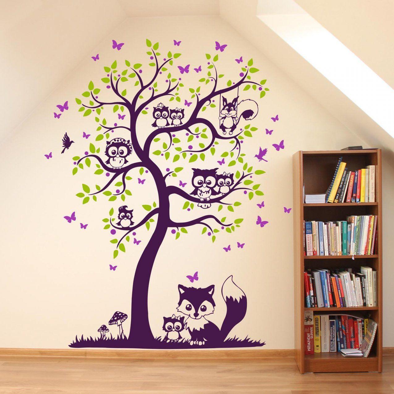 Wandtattoo Baum Mit Eulen Eichhörnchen Fuchs Und Schmetterlinge von Wandtattoo Baum Mit Eulen Bild