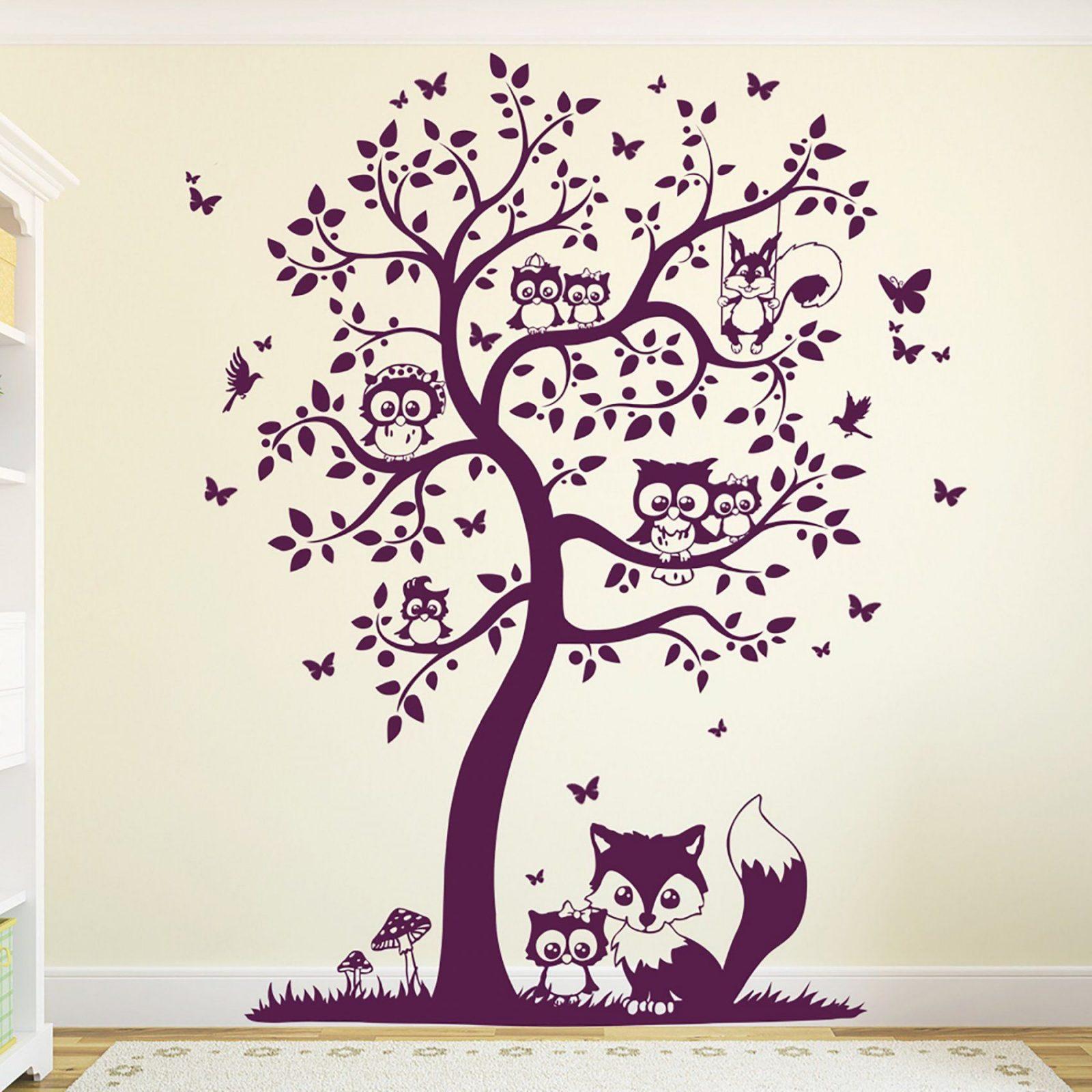 Wandtattoo Baum Mit Eulen Eulenbaum Eule M1542  Wandtattoos von Wandtattoo Baum Mit Eulen Photo