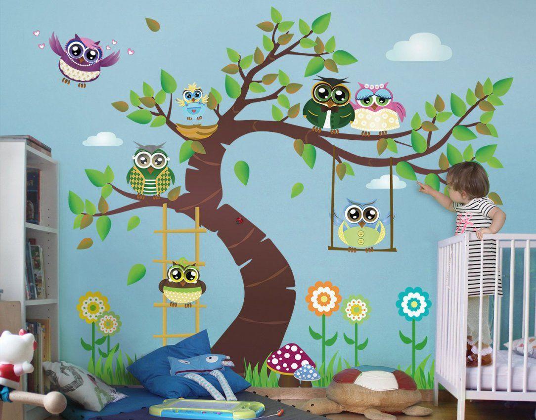 Wandtattoo Kinderzimmer Eule Noyk23 Lustiger Eulenbaum von Wandtattoo Baum Mit Eulen Photo