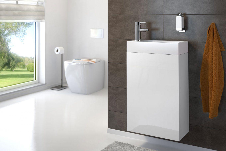 Waschplatz Vita Hochglanz Weiß 40 Cm  Bad11 von Waschbecken Mit Unterschrank 40 Cm Tief Bild