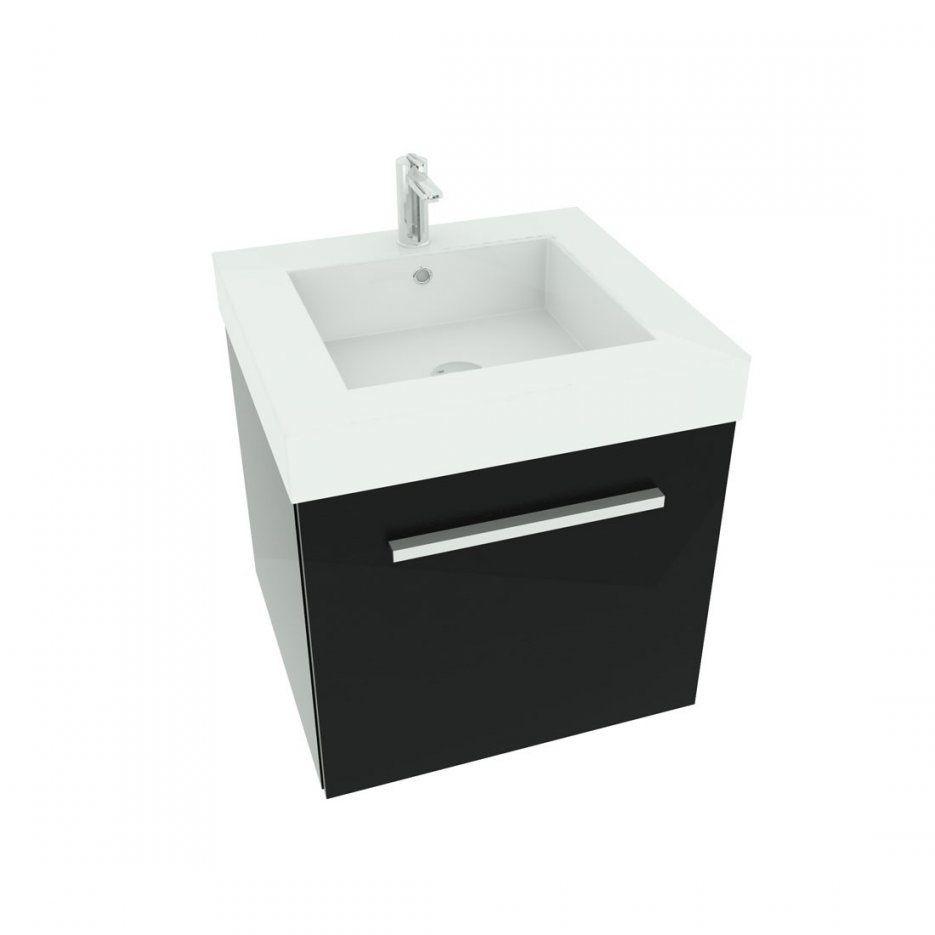 Waschtisch Mit Waschbecken Unterschrank City 100 50Cm Esche Schwarz von Waschtisch Mit Unterschrank 50 Cm Bild