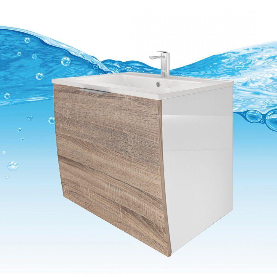 Waschtisch Mit Waschbecken Unterschrank Gently 1 60Cm Weiß  Eiche von Waschbecken Beige Mit Unterschrank Bild