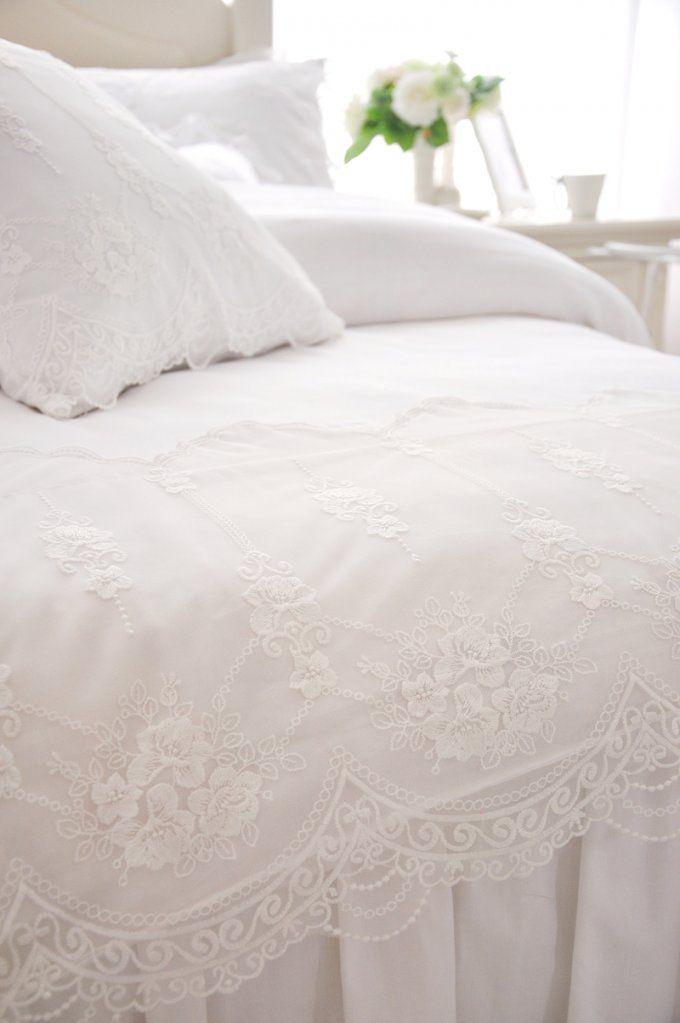 Weiße Spitze Rüsche Bettwäsche Sets Baumwolle 4 Stücke Prinzessin von Weisse Bettwäsche Mit Spitze Photo