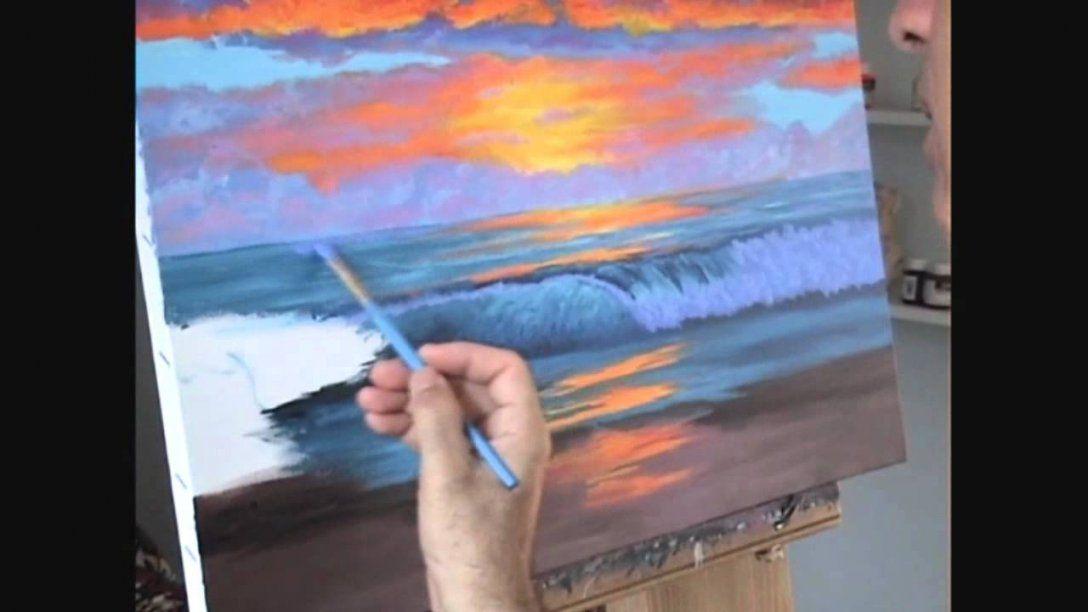 Wie Malt Man Einen Tropischen Strand Bei Sonnenuntergang Mit Acryl von Acrylbilder Selber Malen Für Anfänger Bild