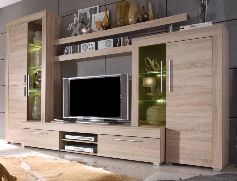 Wohnwand Boom Sonoma Eiche Hell 310 Cm Mit Led  Designermöbel von Wohnwand Sonoma Eiche Sägerau Photo
