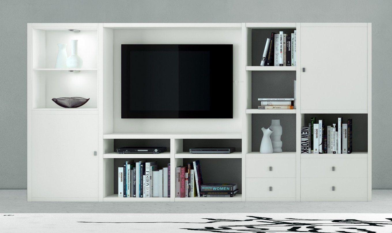 Wohnwand Bücherwand Mediawand Eiche Lack Weiß von Raumteiler Mit Tv Fach Photo