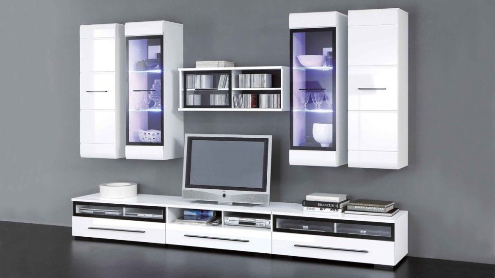 Wohnwand Inclusive Ledbeleuchtung Für Ihr Zuhause Achtteilig von Wohnwand Weiß Hochglanz Günstig Bild