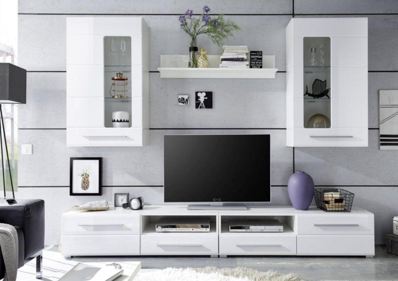 Wohnwand Modern Hängend Wohnwand Mit 2 Hngevitrinen Weiss Hochglanz von Wohnwand Weiß Hochglanz Hängend Bild