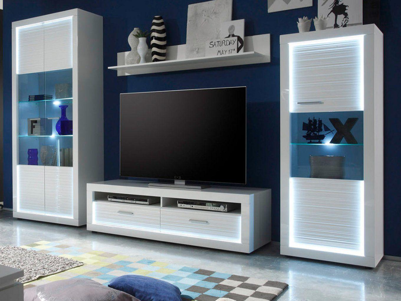 Wohnwand Weiß Hochglanz Rillenoptik Mit Led von Wohnwand Schrankwand Weiß Hochglanz Bild