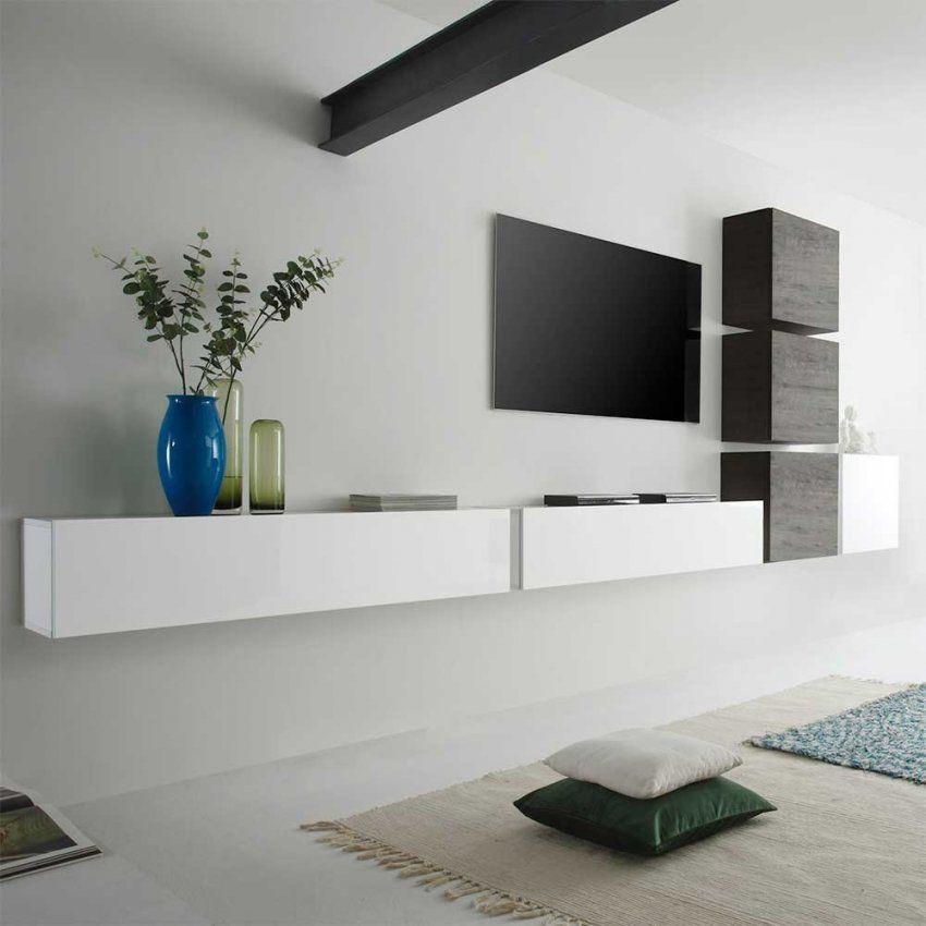 Wohnzimmer Schrankwand Emalika In Weiß Hochglanz Pharao24 von Lowboard Weiß Hochglanz Hängend Bild