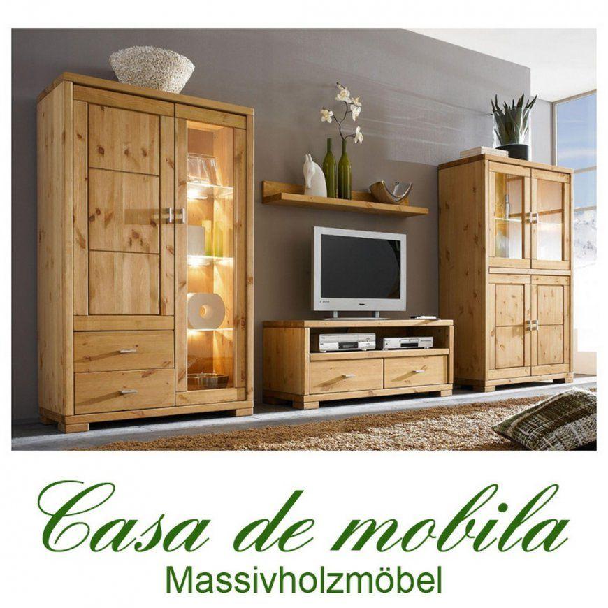 Wohnzimmermöbel Wohnwand Holz Kiefer Massiv Gebeizt Geölt von Wohnwand Kiefer Gelaugt Geölt Bild