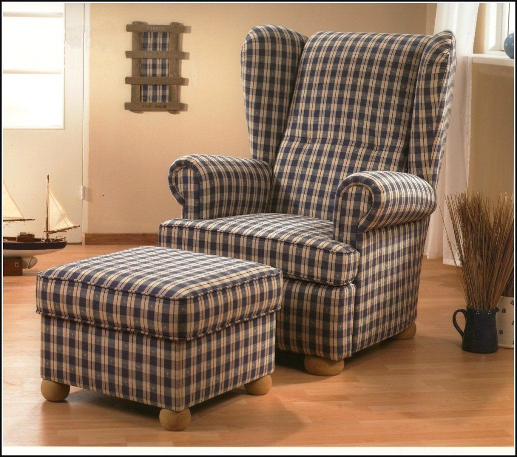 Wonderful Design Mit Hocker Landhausstil Ohrensessel Sessel Kissen von Ohrenbackensessel Mit Hocker Landhausstil Bild
