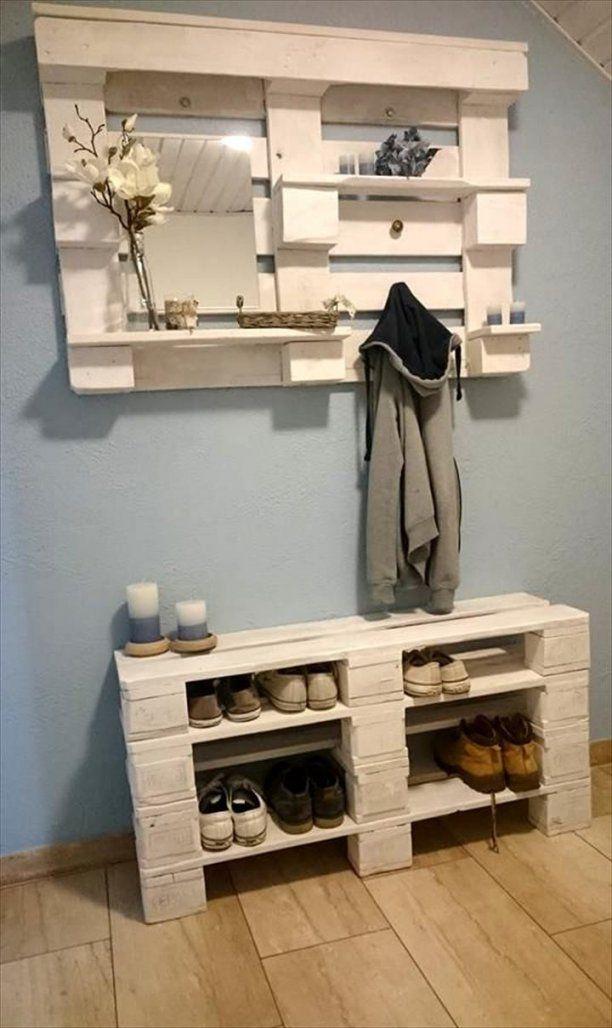 Wooden Pallet Shelf And Shoe Rack  Crafts  Pinterest  Gardarobe von Garderobe Selber Bauen Palette Bild