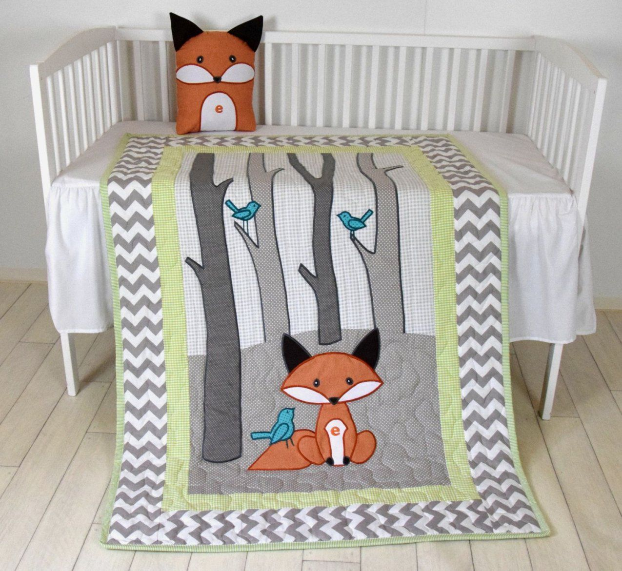 Woodland Blanket Birch Tree Crib Quilt Personalized Fox Crib von Baby Bettwäsche Nähen Photo