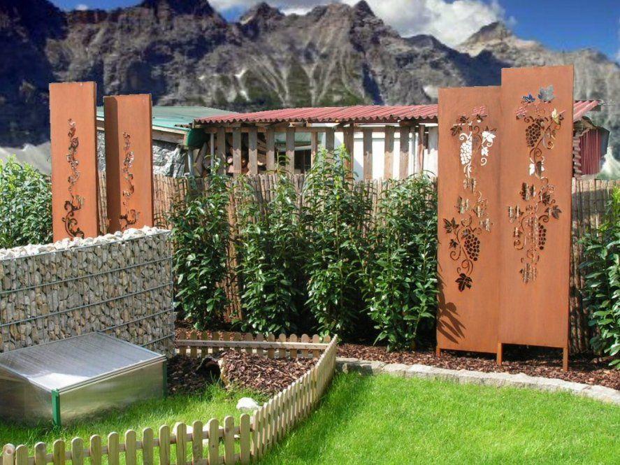 Wunderbar Deco Garten Sichtschutz Rost Weinrebe Barock Metall von Sichtschutz Garten Metall Rost Photo