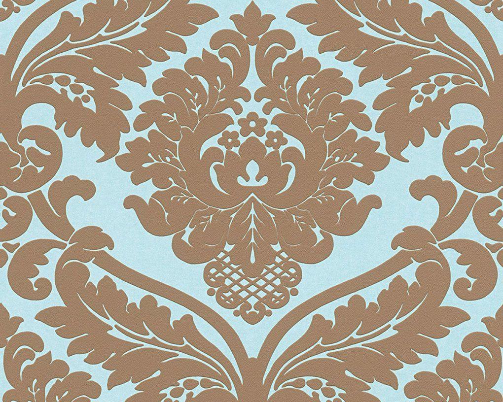 Wunderbare Inspiration Barock Tapete Türkis Und Tolle Vliestapete von Barock Tapete Blau Gold Bild