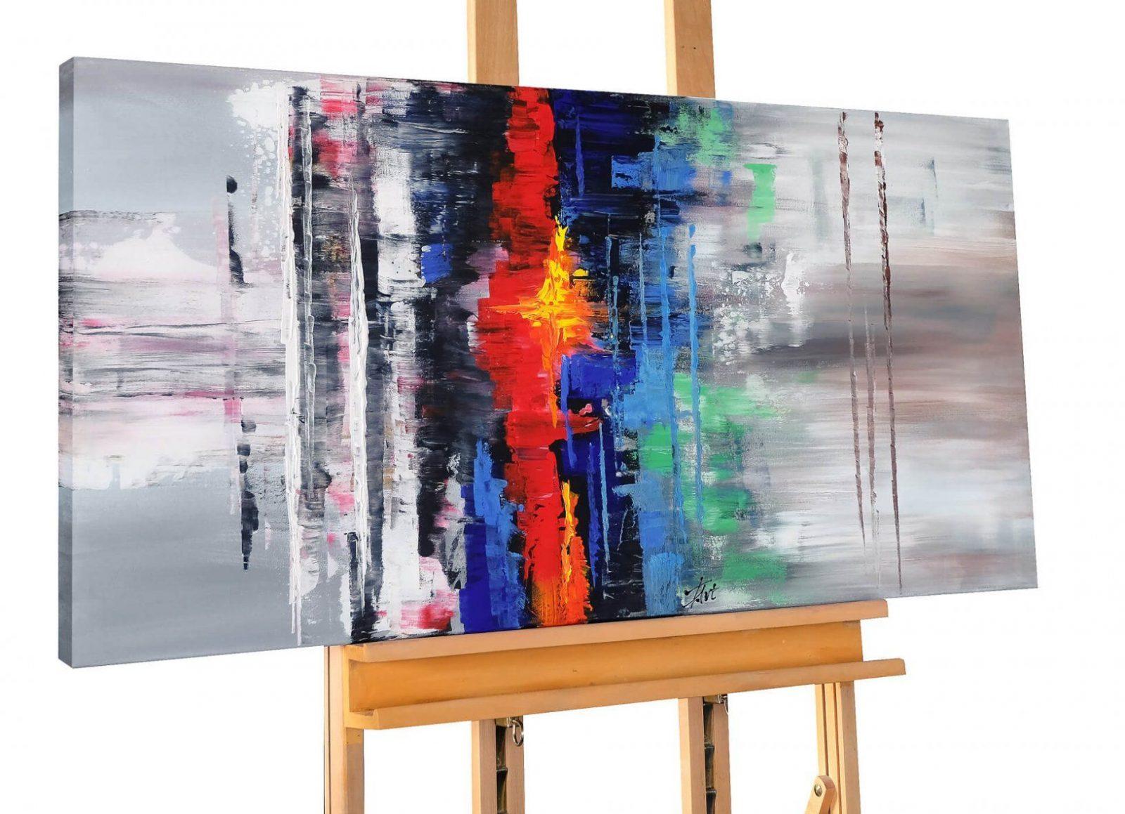 Xxl Acrylbild Grau Bunt Abstrakt Kaufen  Kunstloft von Handgemalte Bilder Auf Leinwand Abstrakt Bild