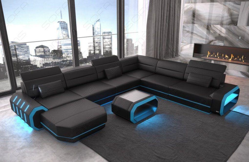 Xxl Wohnlandschaft Roma In Leder Mit Einer Schönen Beleuchtung von Couch Mit Led Beleuchtung Photo