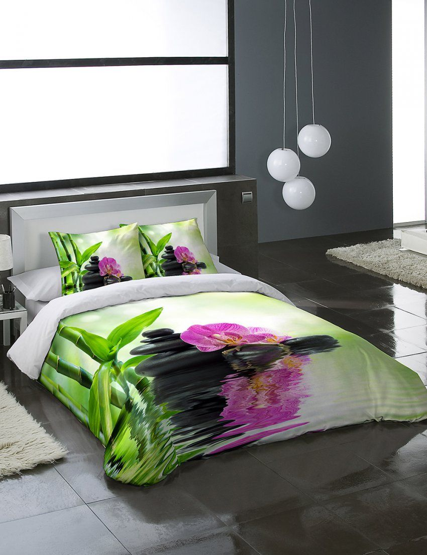 Zen Bettwaesche Sets  Dibinekadar Decoration von Bettwäsche Orchideen Motiv Bild