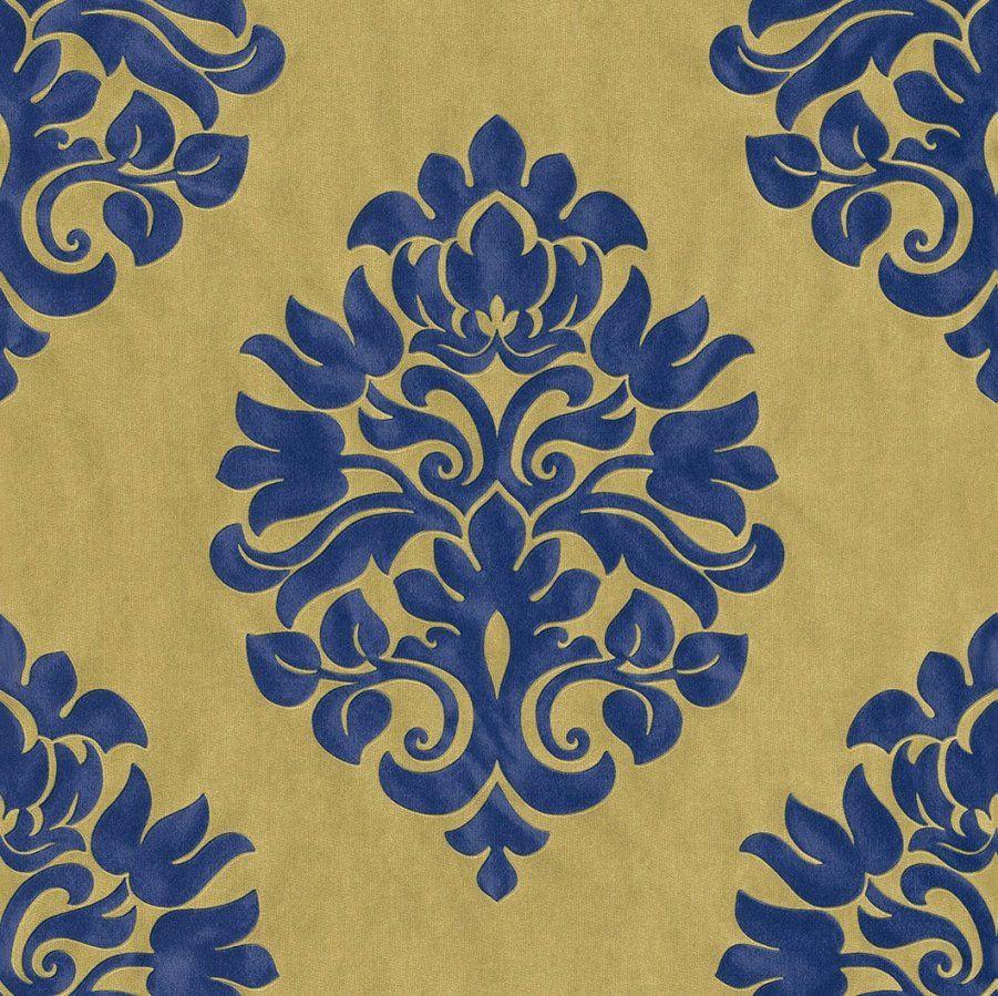 Zufriedenheit Inspiration Tapete Blau Gold Und Schöne Vliestapete von Barock Tapete Blau Gold Bild