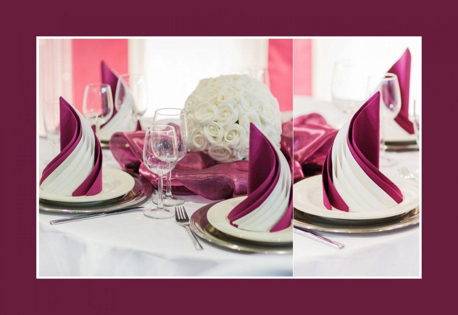 Zwei Servietten Miteinander Falten Servietten In Bordeauxweiß von Servietten Falten Hochzeit Anleitung Photo