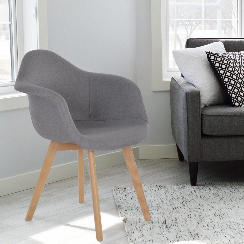 2Er Set Retro Esszimmerstühle Stoff Schale Grau von Esszimmerstühle Mit Armlehne Stoff Bild