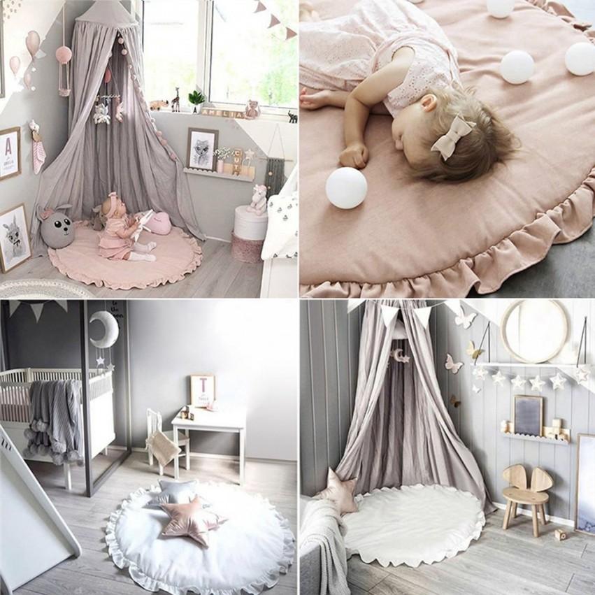 Baumwolle Kinder Spielen Spiel Matten Runde Teppich Teppiche von Baby Dekoration Zimmer Bild