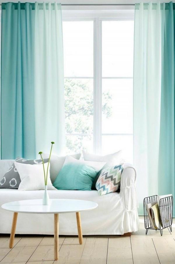 Gardinen In Mintgrün Mit Ombre Effekt …  Vintage Home von Schlafzimmer Vorhänge Ideen Bild