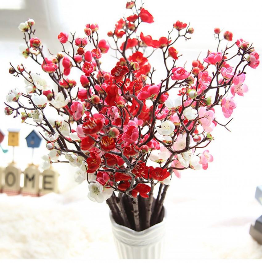 Heißer Verkauf Künstliche Blumen Plum Blume Künstliche Pflanzen Ast  Seidenblumen Für Home Party Hochzeit Dekoration Gefälschte Blume D19011101 von Dekoration Blumen Künstliche Pflanzen Bild
