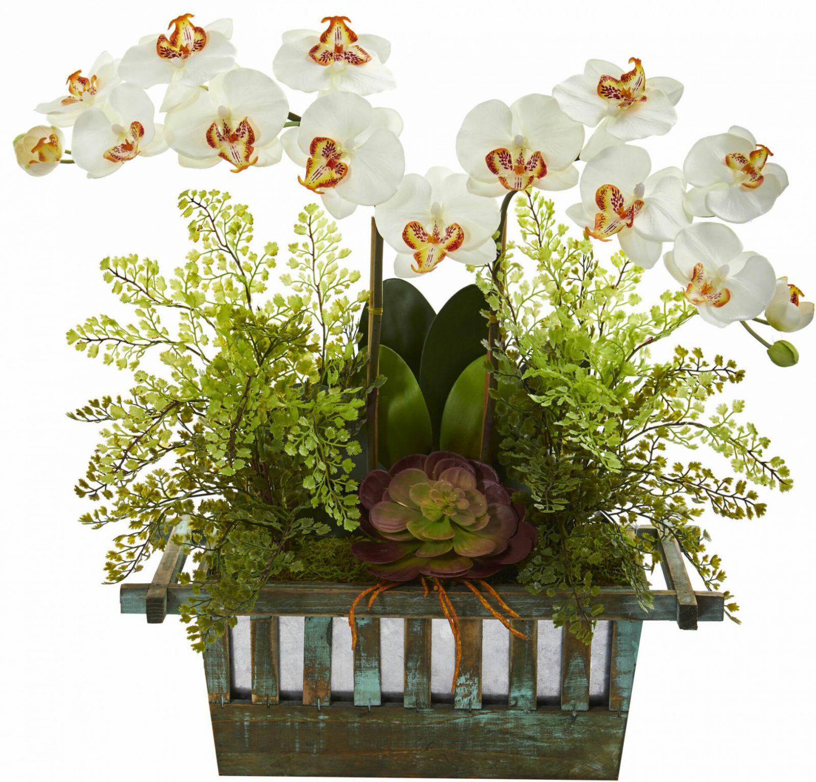 Rose  Maiden Hair Silk Flower Arrangement Dekoration Dark von Dekoration Blumen Künstliche Pflanzen Bild
