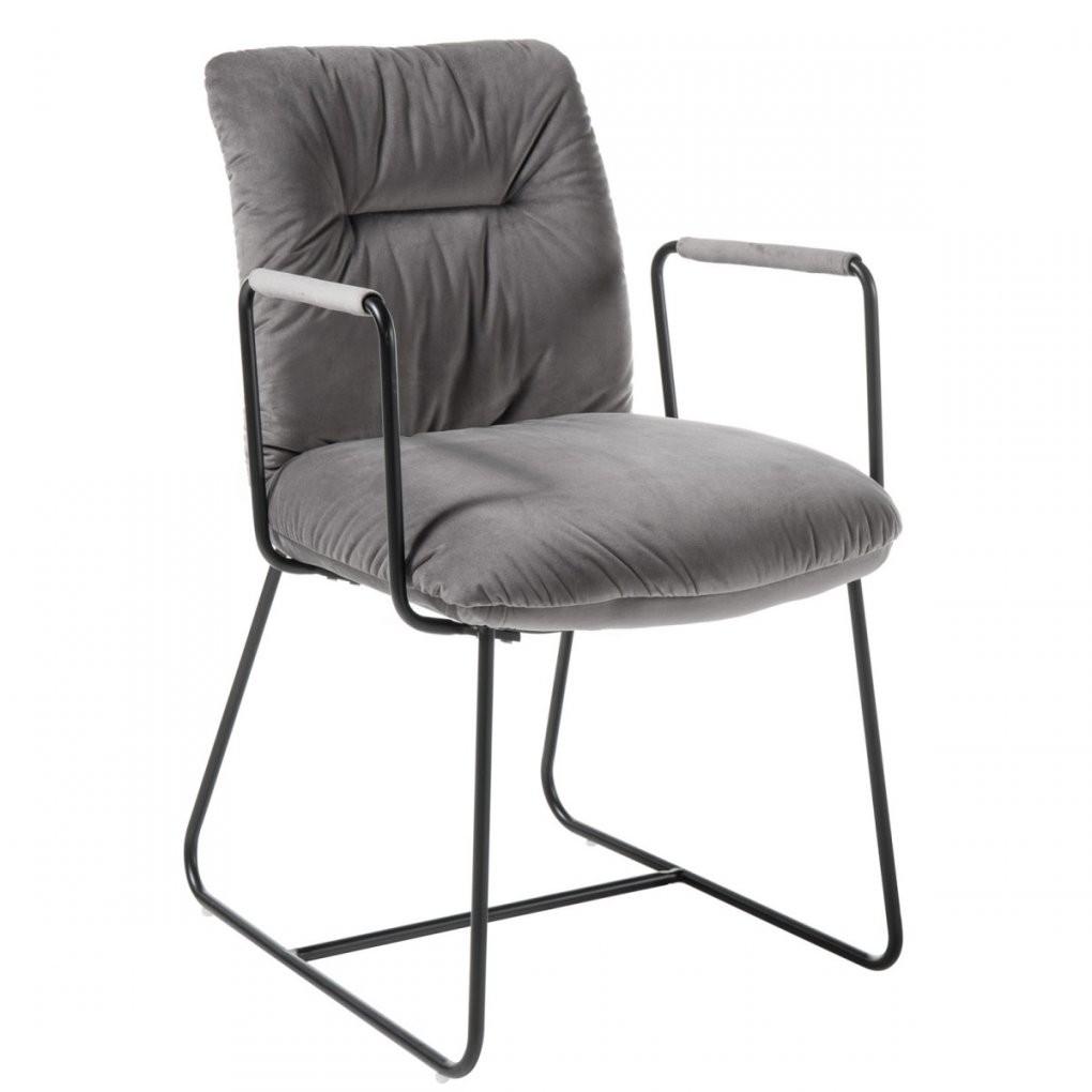 Stuhl Mit Armlehne 49 X 65 Cm Metall Mit Samtbezug Grau von Esszimmerstühle Grau Mit Armlehne Photo