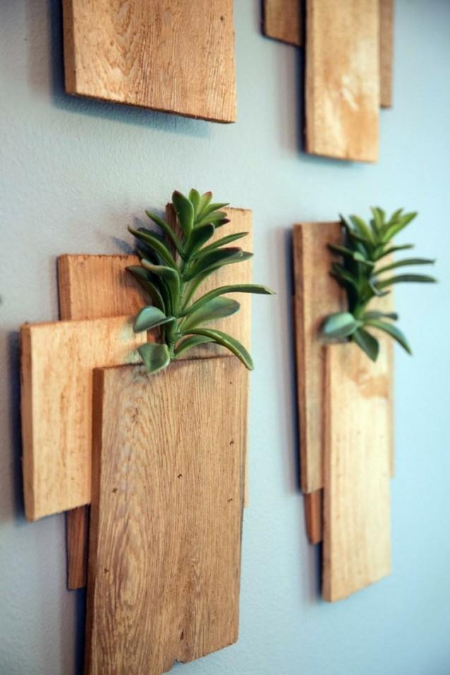 Sukkulenten Arrangement Wand Deko Vertikal Pflanzen Holz von Holz Dekoration Wand Photo