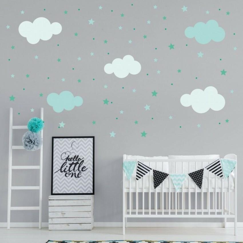 142 Wandtattoo Wolken Sterne Punkte Set Mint Weiß von Deko Für Babyzimmer Junge Photo