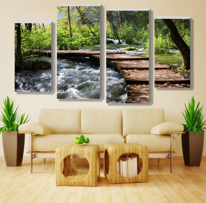 4 Stücke (Kein Rahmen) Retro Wasserfall Definition Bilder Leinwand  von Dekoration Wohnzimmer Wand Photo