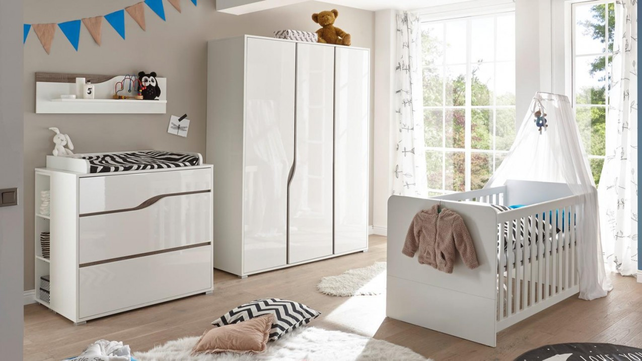 Babyzimmer 1 Marra 3Teilig Mdf Weiß Hochglanz Eiche Sonoma von Babyzimmer Weiß Hochglanz Bild