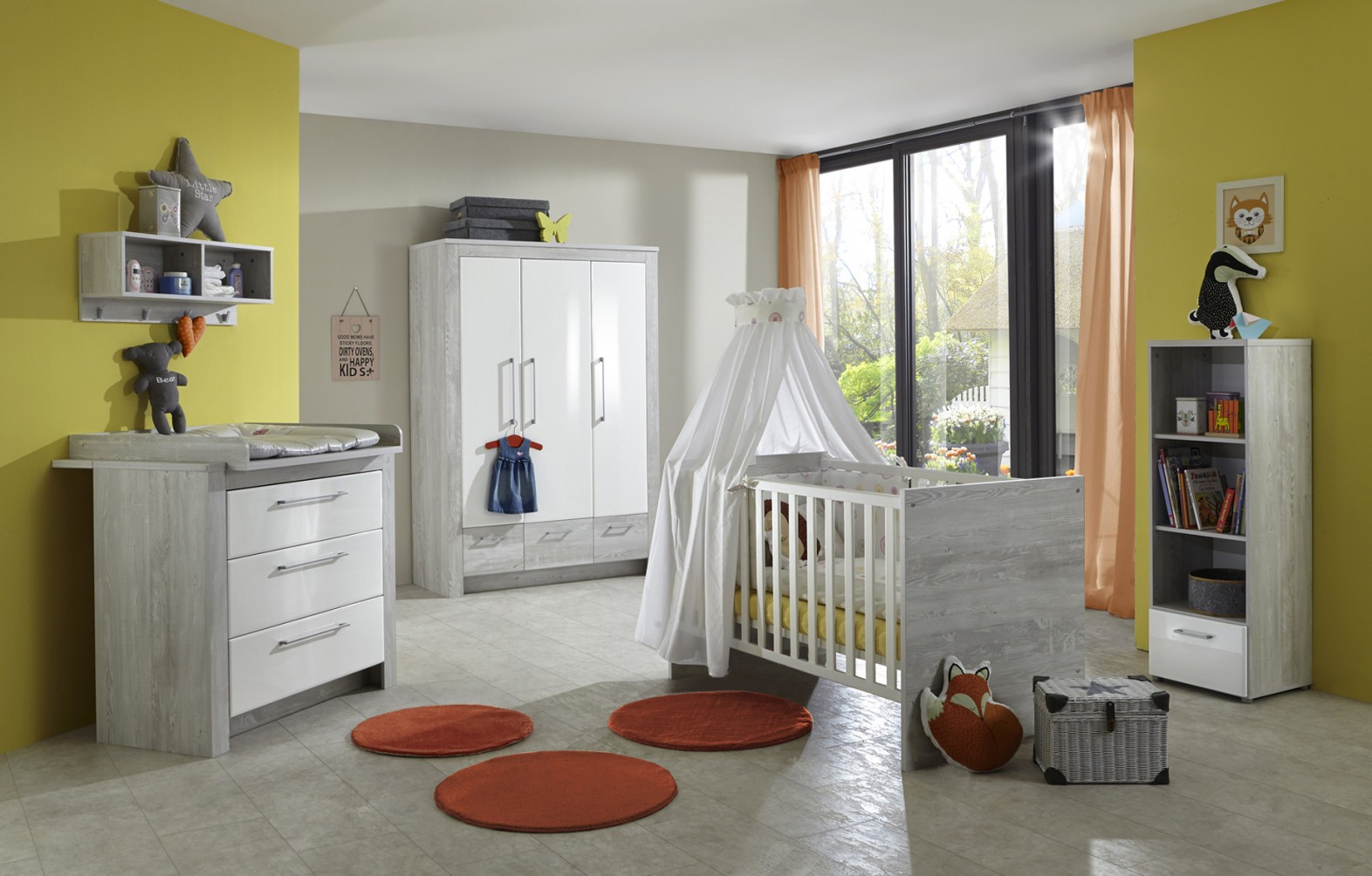 Babyzimmer Emilia  3Tlg  Piniegrau Nachbildungmdf von Babyzimmer Weiß Hochglanz Bild