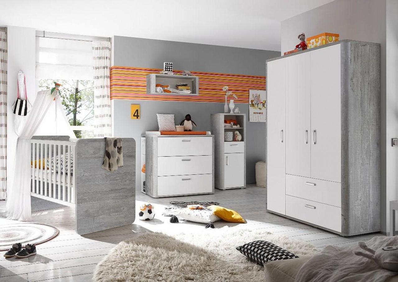 Babyzimmer F Zwillinge Frieda Set 6 Vintage Wood Grey Weiß Matt 10Tlg von Babyzimmer Zwillinge Komplett Bild